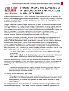 Understanding the Language of Intermodulation Specifications in HPA Data Sheets