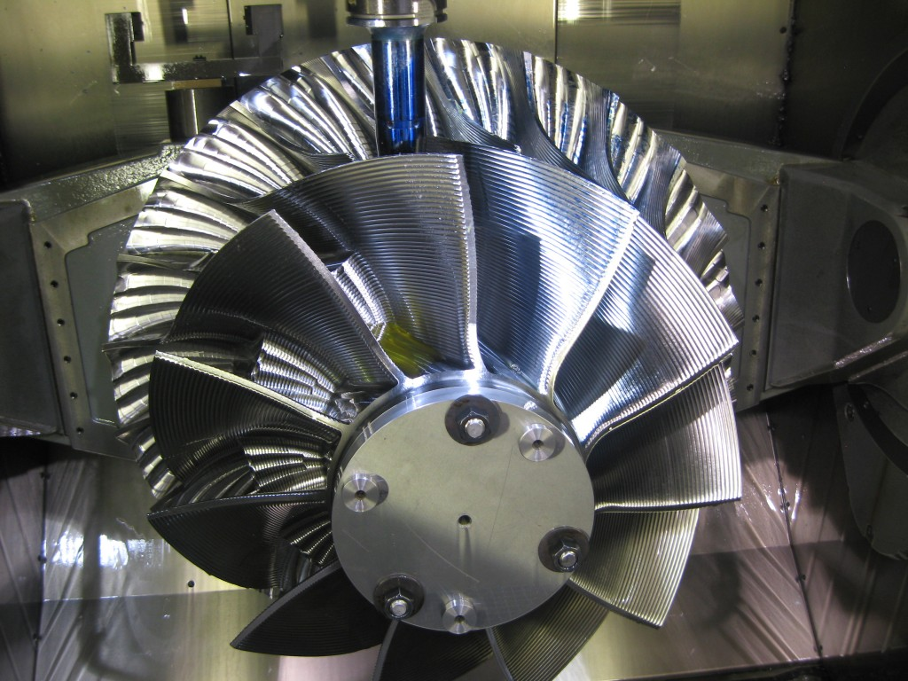 New impeller vanes were manufactured from a solid piece of chrome molybdenum vanadium steel